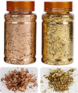 VGSEBA Gilding Gold Leaf Flakes, 5g/Bottle Metallic Imitation Gold Foil Flakes for Gilding, Painting Arts, Crafts Nails an...