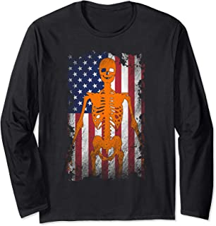 USA Patriotic Halloween - Distressed Skeleton American Flag Long Sleeve T-Shirt