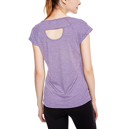 7cb68a55e2 icyzone Workout Running Shirts for Women - Fitness Gym Yoga Exercise Short  Sleeve T Shirts Open