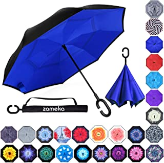 Z ZAMEKA Double Layer Inverted Umbrellas Reverse Folding Umbrella Windproof UV Protection Big Straight Umbrella Inside Out Upside Down for Car Rain Outdoor with C-Shaped Handle, N Blue