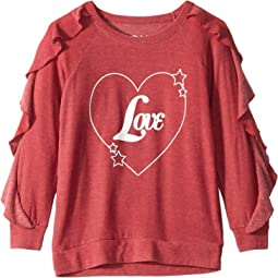 Extra Soft Love Heart Ruffled Long Sleeve Pullover (Little Kids/Big Kids)