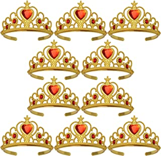 XiangGuanQianYing Princess Dress Up Crowns and Tiaras for Child from 3 Years Up Party Favors Red Tiara Plastic Gold Tiara(10 Pack) (Heart Red)