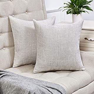 Anickal Set of 2 Beige Pillow Covers Cotton Linen Decorative Square Throw Pillow Covers 16x16 Inch for Sofa Couch Decoration
