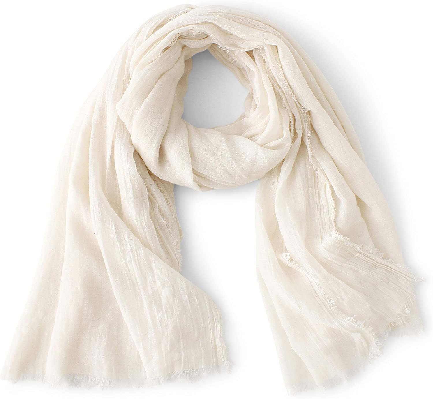WS Natural Scarf Shawl Wrap Linen Feel Scarves For Men And Women