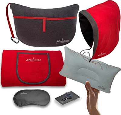 Klouders Fleece Blanket - Luxury Travel Set 6-in-1 with Great Combination of Sleep Mask - Ear Plugs - Rest-Quality Hood - Travel Accessories Storage Organizer - Inflatable Travel Pillow