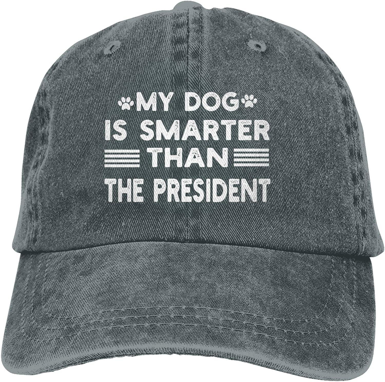Garitin My Dog is Smarter Than The President Adjustable Washed Unisex Dad Hat Trucker Cap Hat Denim Cap Baseball Cap