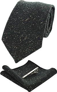 JEMYGINS Solid Color Cashmere Wool Necktie and Pocket Square Tie Clip Sets for Men