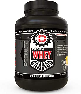 Driven WHEY- Grass Fed Whey Protein Powder: Delicious, Clean Protein Shake- Improve Muscle Recovery with 23 Grams of Protein with Added BCAA and Digestive Enzymes (Vanilla Dream, 5 lb)