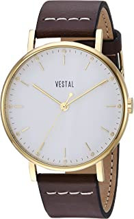 Vestal 'Sophisticate' Swiss Quartz Stainless Steel and Leather Dress Watch, Color:Brown (Model: SP42L03.BR)