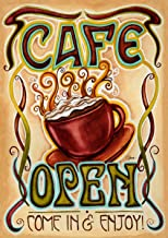 Toland Home Garden Café Open 28 x 40 Inch Decorative Coffee Cup Business Sign Double Sided House Flag - 102538