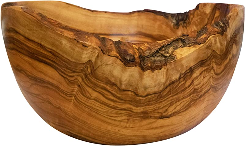 Tramanto Rustic Fruit Bowl 9 Inch Wide Olive Wood With Burled Grain And Semi Bark Edge