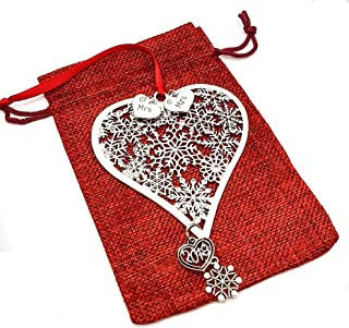 Charmed By Dragons Mrs. and Mrs. Lesbian Heart Holiday Ornament - Silver Heart with Snowflakes and Crystals in Red Burlap Gift Bag (Mrs. & Mrs. 2019)
