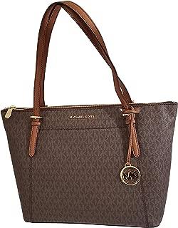 Women's Ciara Large Top Zip PVC Leather Tote Shoulder Bag Brown