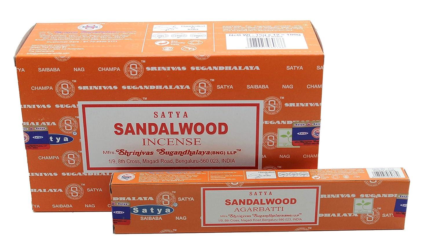略語大聖堂洋服Satya Bangalore (BNG) サンダルウッド (オレンジボックス) お香スティック 12箱 x 15g (合計180グラム)