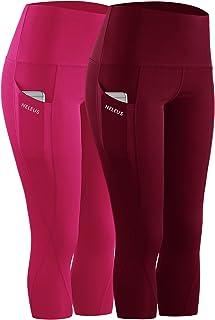 Neleus Women's Tummy Control High Waist Capri Leggings Yoga Pants with Pockets