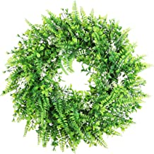 "Capslpad 18"" Artificial Front Door Wreath Green Leaves with White Flowers Summer Spring Door Wreath Fake Wreath for Home K..."