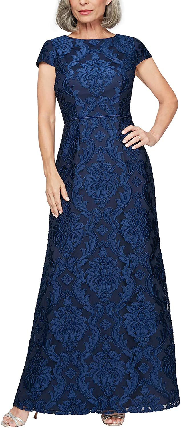 Alex Evenings Women's Long Velvet and Burnout Petite Free shipping 2021 spring and summer new New Dress Regu