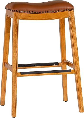 "DTY Indoor Living Montrose Bonded Leather Saddle Stool, 30"" Bar Stool, Natural Finish, Saddle Leather Seat"