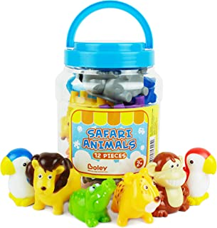 Boley 12-Piece Toddler Zoo Animal Bucket with Zoo, Jungle, and Safari Animal - Featuring Toy Lions, Elephants, Koalas and More - Perfect Educational Party Gift and Bath Toy for Kids, Boys and Girls!