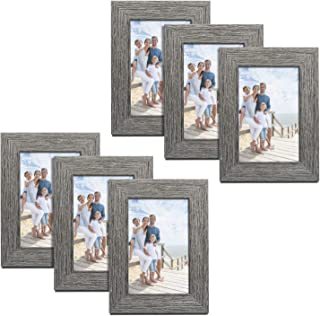 TWING Picture Frames Wood Pattern 4x6 High Definition Glass Tabletop or Wall Rustic Photo Frame for Table Top and Wall Display,Wood Grain Photo Frames,6 Pack (Light&Grey)