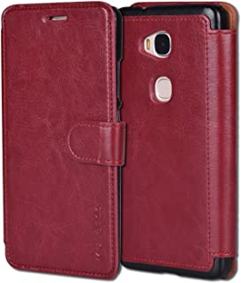 Huawei Honor 5X Case,Mulbess Huawei Honor 5X Wallet Case [Wine Red] - [Ultra Slim][Layered Dandy] - PU Leather Flip Cover with Credit Card Slot for Huawei Honor 5X