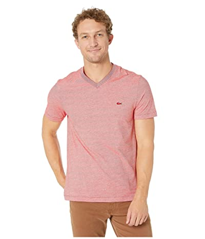 Lacoste Short Sleeve Striped Jersey Raye T-Shirt Regular Fit (Red/Flour) Men