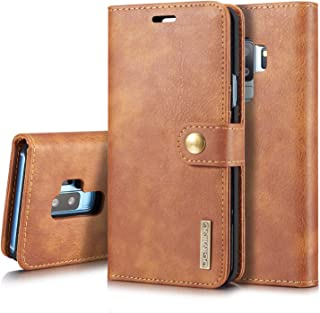 Protective Case Compatible with Samsung Cover Compatible Samsung s9 Case Flip Case Compatible Samsung s9 Cover Flip Phone Case pu Leather Wallet Case Phone case (Color : Brown)