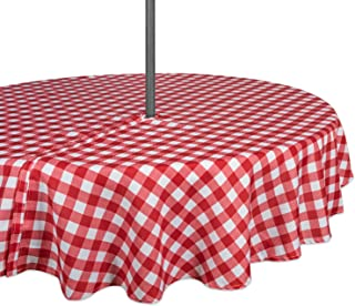 """DII 100% Polyester, Spill Proof, Machine Washable, Zipper Tablecloth for Outdoor Use with Umbrella Covered Tables, 60"""" Rou..."""
