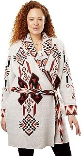 Women's Plus Size Belted Geometric Knit Cardigan