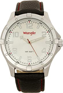 Wrangler Men's Watch, 48mm with Textured Dial, Polyurethane Band with Red Stitching, Water Resistant
