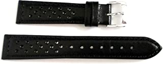 19 MM Speidel Driving Black Leather Padded Stitched Anti-allergic Watch Band Str