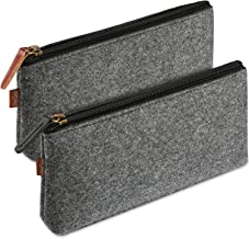 ProCase Pencil Bag Pen Case, Felt Students Stationery Pouch Zipper Bag for Pens, Pencils, Highlighters, Gel Pen, Markers, Eraser and Other School Supplies -2 Pack, Black