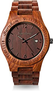 Burnham Mens Wooden Watch Red Sandal Wood Analog Watch Swiss Ronda Quartz Movement Wooden Wristwatch