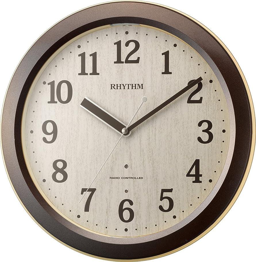 怪しい道操るリズム時計 掛け時計 電波 アナログ ピュアライトM33 暗所 ライト 自動 点灯 茶 (木目仕上) RHYTHM 4MYA33SR06