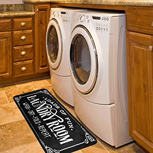 Laundry Room Rug Washing Machine Room Farmhouse Runner Rugs Non Skid Kitchen Floor Mats Bathroom Laundry Decor Carpet Black 39x20in