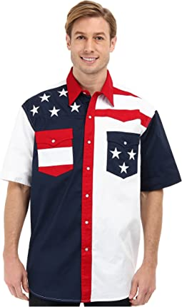 Roper - S/S Pieced Stars and Stripes Patriotic