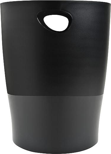 Exacompta 453014D ECOBIN Papierkorb EcoBlack 15 Liter mit Griffen. Eleganter und robuster Papierkorb und Mülleimer im modernen Design schwarz…