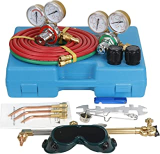 Oxygen & Acetylene Regulators Gas Cutting Torch and Welding Kit Portable Oxy Brazing Welder Tool Set with Pipe, Goggles, Regulator, Storage Case