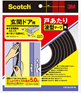 3M スコッチ玄関ドア戸あたり波型テープ2本 黒 EN-58