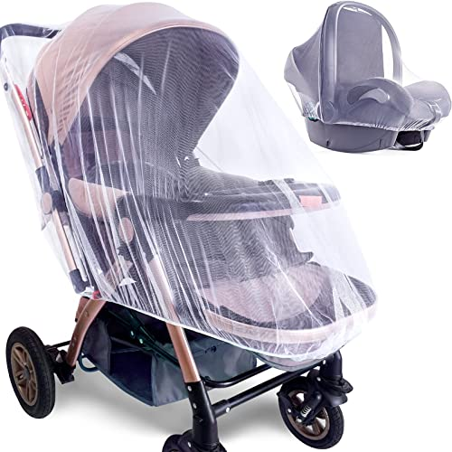 Mosquito Net for Stroller - 2 Pack Durable Baby Stroller Mosquito Net - Perfect Bug Net for Strollers, Bassinets, Cra...
