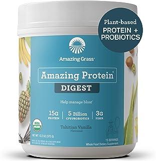 Amazing Grass DIGEST Vegan Protein Powder, Plant Based with Probiotics + Fiber to Manage Bloat, Tahitian Vanilla, 15 Servings