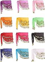 Zhanmai 12 Pieces Belly Dance Skirt Hip Skirt 12 Colors Waist Chain Dance Hip Scarf Belt with Dangling Gold Coins