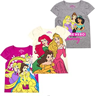 Disney Princess T-Shirts for Girls – 3 Pack Short Sleeve Graphic Tees