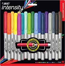 Bic Intensity Colored Markers, Fashion Permanent Markers Assorted Colors Bulk Pack of 18 Bright Colors, Fine Point, Assort...
