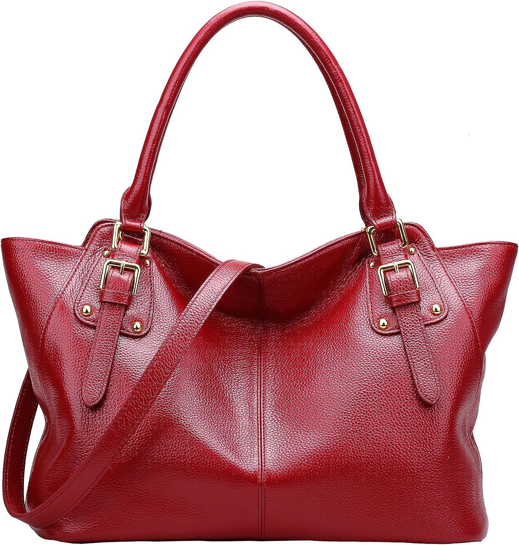 BIG SALEAINIMOER Women Vintage Soft Genuine Leather Tote Shoulder Bag Tophandle Cross body Handbags Ladys Purse