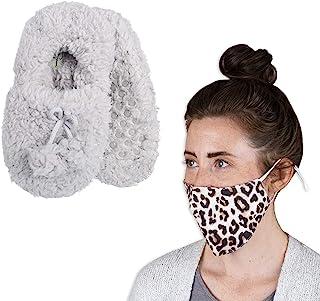 Women's Fluffy Slipper Socks & Face Mask Set