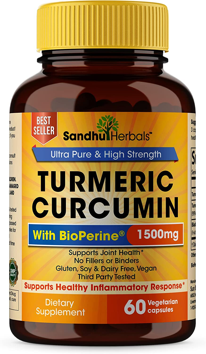 Turmeric OFFicial Curcumin with Black Pepper 1500mg Poten Spring new work Highest Extract