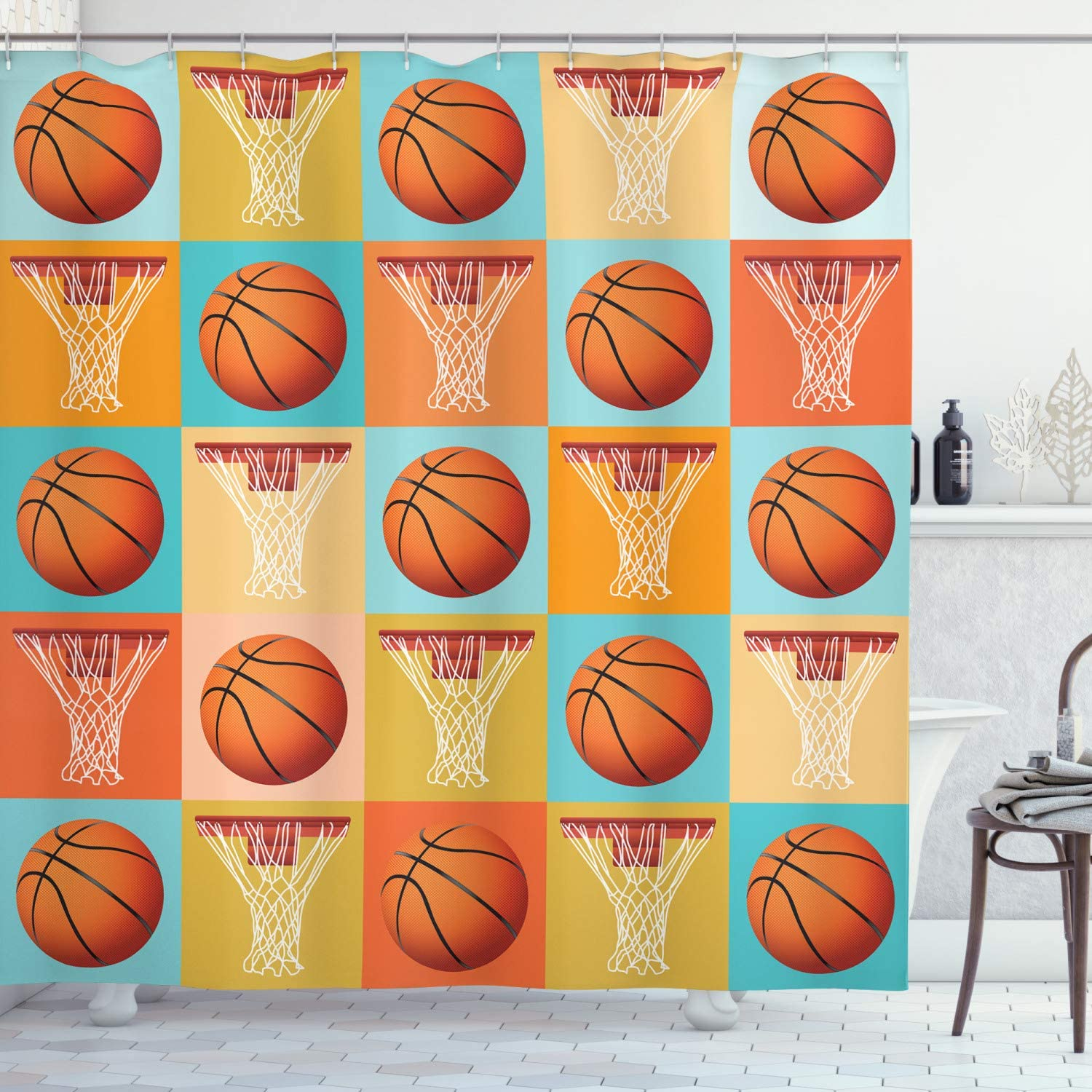 Selling and selling Ambesonne Sports Shower Curtain Basketball Ranking TOP4 Equipment NB Pattern