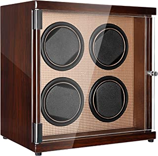 CHIYODA Watch Winder with Quite Motors, LCD Touch Screen,12 Rotation Modes, High Gloss Brown