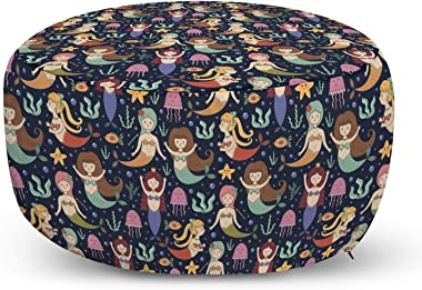 Ambesonne Mermaid Pouf Cover with Zipper, Childish Funny Cartoon with Ocean Girls with Colorful Tails Bubbles, Soft Decorativ